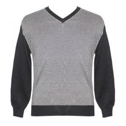 Men's V-Neck Front Jacquard Sweater - (NEP-031)