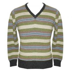Men's V-Neck Multi-Color Stripe Sweater - (NEP-037)