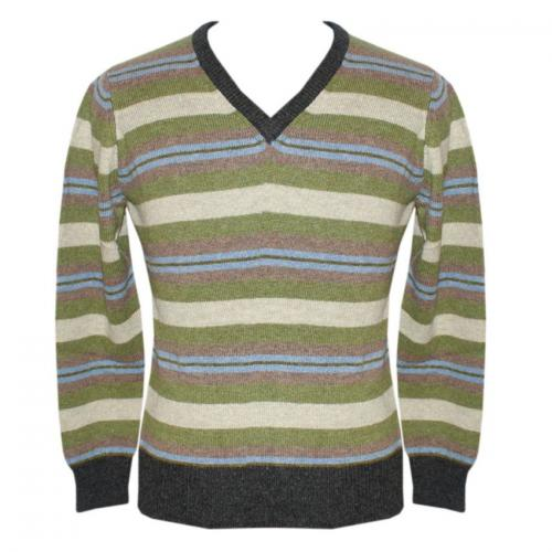Men's V-Neck Multi-Color Stripe Sweater - (NEP-037)