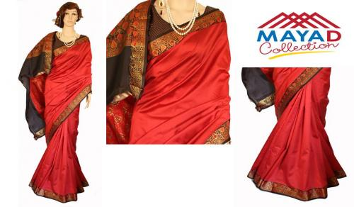 Bright Red Silk Saree For Ladies - (MDC-007)