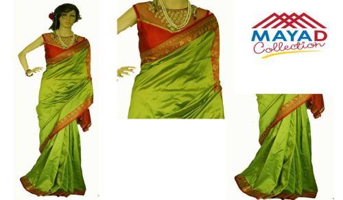 Green Silk Saree For Ladies - (MDC-002)