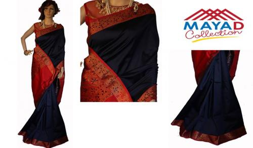 Navy Blue Silk Saree For Ladies - (MDC-004)