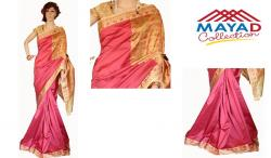 Red Pink Silk Saree For Ladies - (MDC-005)