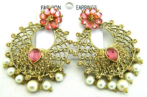 Golden and Pink Mix Elegant Earring - (ATS-053)