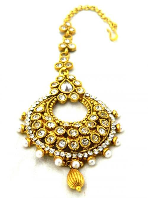 Gold Plated Designer Maang Tikka - Bindiya - (ATS-030)