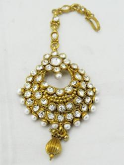Gold Plated Designer Maang Tikka - Bindiya - (ATS-032)