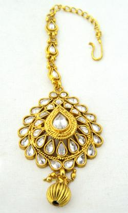 Gold Plated Designer Maang Tikka - Bindiya - (ATS-034)