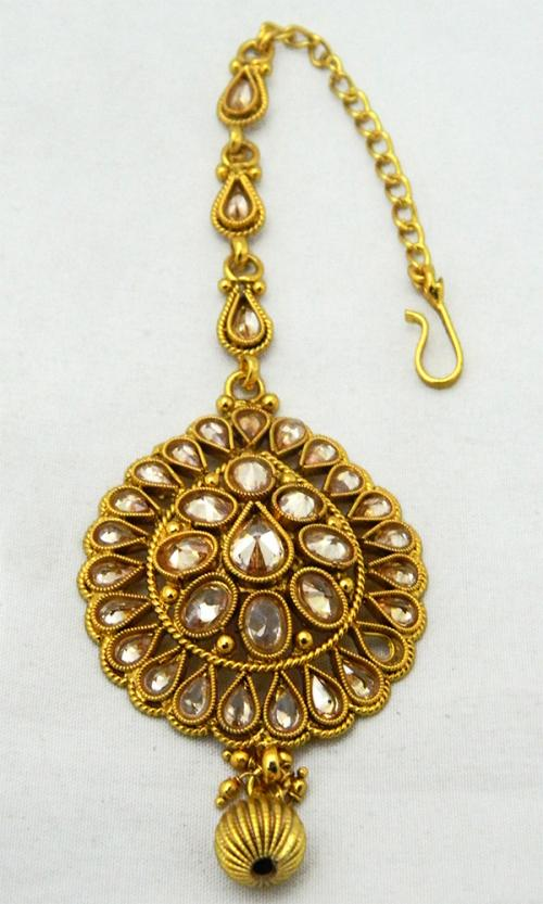 Gold Plated Designer Maang Tikka - Bindiya - (ATS-033)