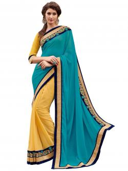 Blue and yellow saree with blouse