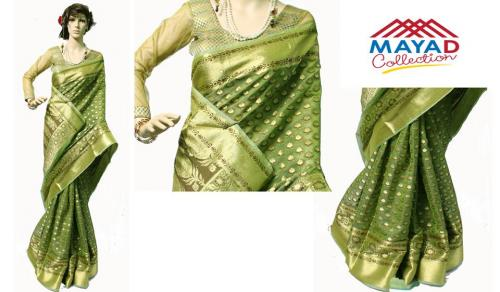 Light Green Silk Mixed Saree For Ladies - (MDC-010)