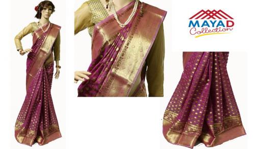 Magenta Silk Mixed Saree For Ladies - (MDC-011)