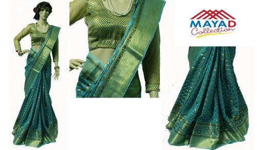 Blue Silk Mixed Saree For Ladies - (MCD-012)