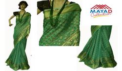 Green Silk Mixed Saree For Ladies - (MCD-013)