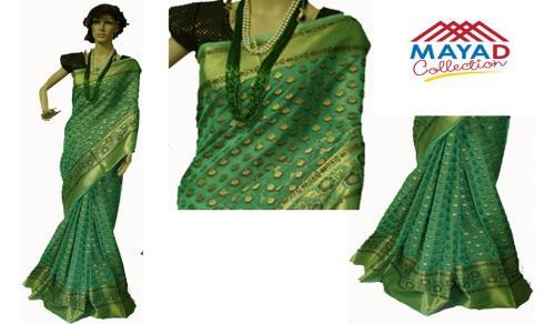 Green Silk Mixed Saree For Ladies - (MCD-013)