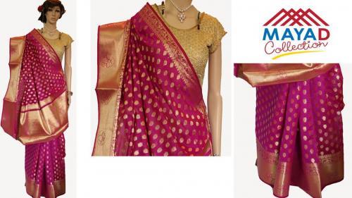 Royal Pink Silk Mixed Saree For Ladies - (MCD-015)