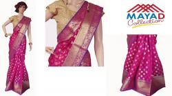 Dark Pink Silk Mixed Saree For Ladies - (MCD-016)
