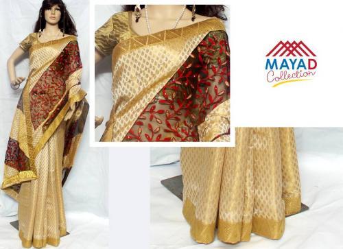 Golden Color Raw Silk Saree For Ladies - (MDC-027)