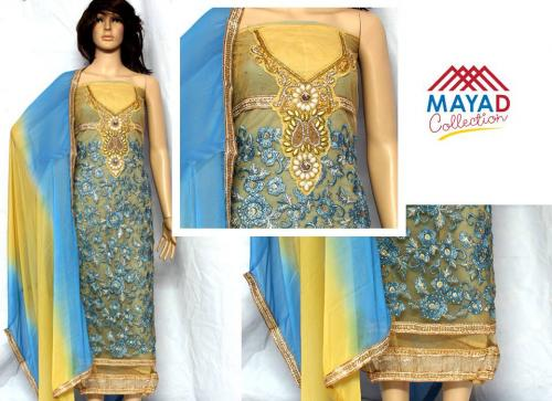 Blue Georgette Kurta With Chiffon Swal - (MDC-030)