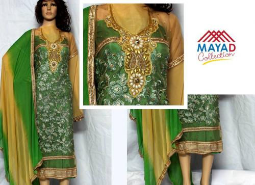 Green Georgette Kurta With Chiffon Swal - (MDC-031)