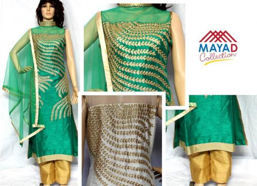 Green Georgette Kurta With Net Swal - (MDC-033)