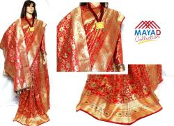 Red Banarasi Saree For Ladies - (MDC-038)