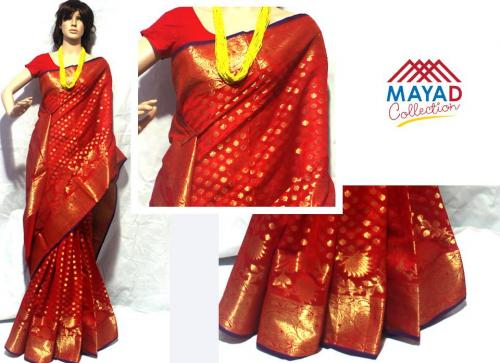 Red Cotton Silk Mixed Saree For Ladies - (MDC-041)