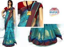 Blue Cotton Silk Mixed Saree For Ladies - (MDC-044)
