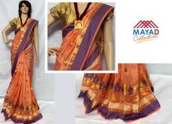 Peach Cotton Silk Mixed Saree For Ladies - (MDC-046)