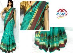 Green Cotton Silk Mixed Saree For Ladies - (MDC-047)