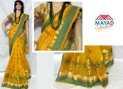 Yellow Cotton Silk MIxed Saree For Ladies - (MDC-048)