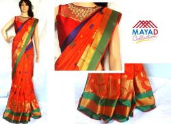Orange Color Cotton Mix Saree For Ladies - (MDC-050)