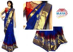 Blue Cotton Mixed Saree For Ladies - (MDC-053)