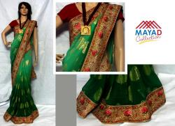 Green Cotton Mixed Saree For Ladies - (MDC-059)