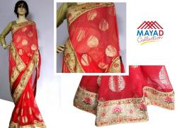 Red Georgette Saree For Ladies - (MDC-060)