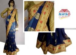 Navy Blue Georgette Saree For Ladies - (MDC-061)