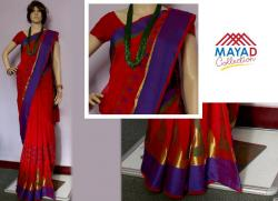 Red Cotton Mixed Saree For Ladies - (MDC-063)