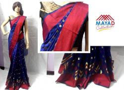 Blue Cotton Mixed Saree For Ladies - (MDC-064)