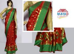 Red Cotton Mixed Saree For Ladies - (MDC-065)