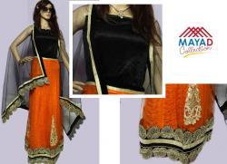 Orange/Black Designer Lehenga Choli - (MDC-072)