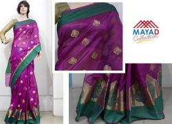 Purple Cotton Silk Mix Saree For Ladies - (MDC-080)