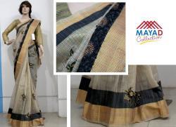 Black Cotton Silk Mixed Saree For Ladies - (MDC-081)