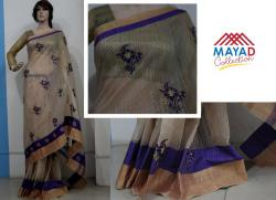 Purple Cotton Silk Mixed Saree For Ladies - (MDC-082)