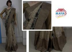 Black Cotton Silk MIxed Saree For Ladies - (MDC-084)