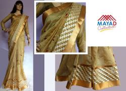 Silk Mixed Golden Saree For Ladies - (MDC-085)