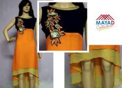 Orange/Black Kurti For Ladies - (MDC-094)