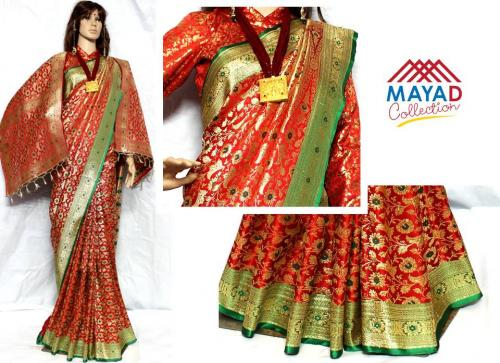 Maroon Banarasi Saree For Ladies - (MDC-039)