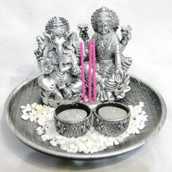Ganesh and Laxmi Diyo Showpiece - (ARCH-050)