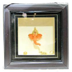 Gold Plated Ganesh Frame Showpiece - (ARCH-061)
