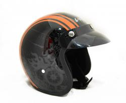Jet Old School Black With Orange Strips Helmet - (SB-055)