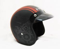 Jet Old School Dull Black With Red Strips Helmet - (SB-058)